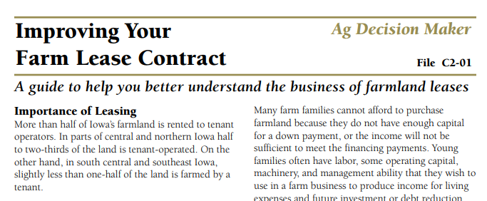Improving Your Farm Lease Contract Farm Table