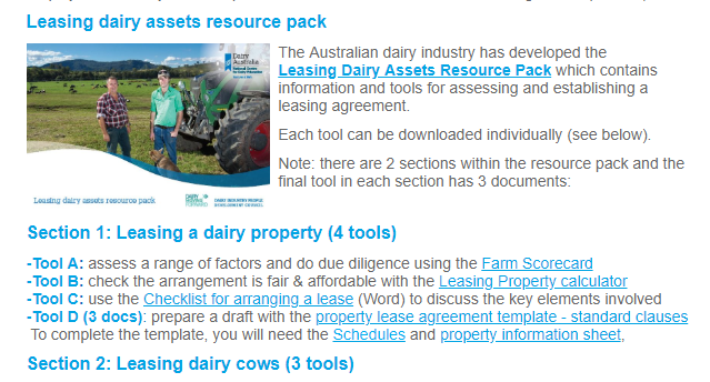 Leasing Dairy Assets Resource Pack Farm Table